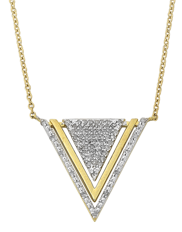 Diamond Pendant - Yellow Gold Diamond Triangle Pendant - 768132