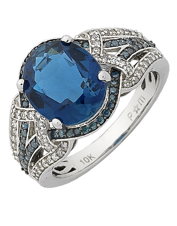 Blue Topaz Ring - White Gold London Blue Topaz and Diamond Ring - 768139 - Salera's