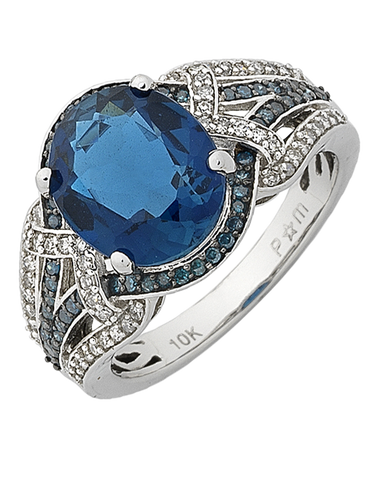 Blue Topaz Ring - White Gold London Blue Topaz and Diamond Ring - 768139