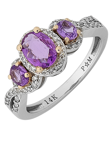 Pink Sapphire Ring - 14ct White Gold Pink Sapphire and Diamond Ring - 768140