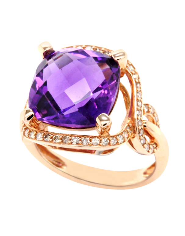 Amethyst Ring - Rose Gold Amethyst and Diamond Ring - 768141 - Salera's