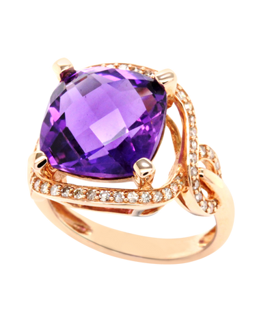 Amethyst Ring - Rose Gold Amethyst and Diamond Ring - 768141