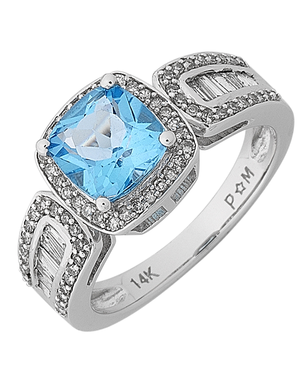 Blue Topaz Ring - White Gold Blue Topaz and Diamond Ring - 768142
