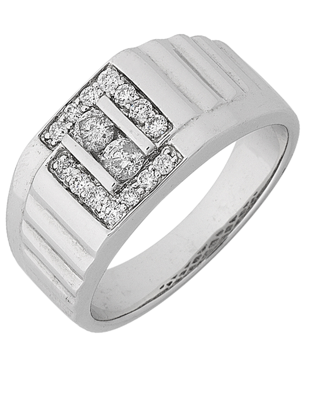 Men's Ring - White Gold Diamond Ring - 768146 - Salera's