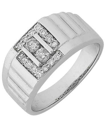 Men's Ring - White Gold Diamond Ring - 768146