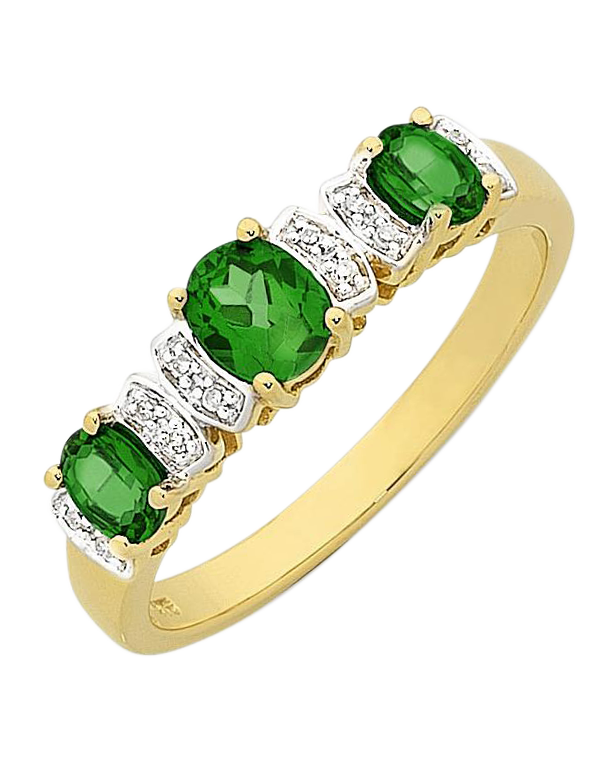 Emerald Ring - Yellow Gold Natural Emerald & Diamond Ring - 768179
