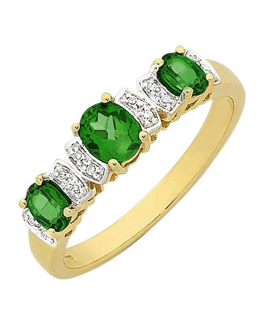 Emerald Ring - 9ct Yellow Gold Natural Emerald & Diamond Ring - 768179