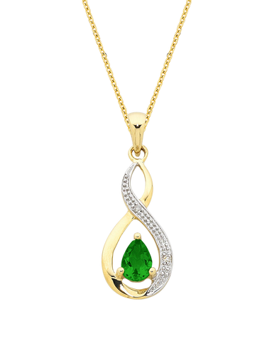 Emerald Pendant - Yellow Gold Emerald & Diamond Pendant - 768180