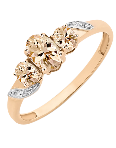 Morganite Ring - Rose Gold Morganite and Diamond Ring - 768183