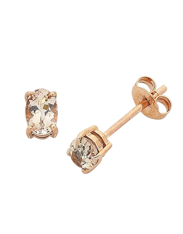 Morganite Earrings - Rose Gold Morganite Stud Earrings - 768184 - Salera's