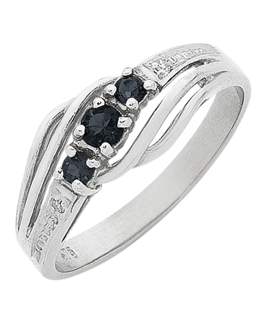 Sapphire Ring - White Gold Sapphire and Diamond Ring - 768185