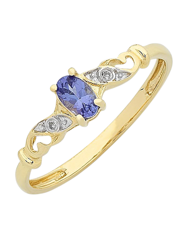 Tanzanite Ring - Yellow Gold Tanzanite and Diamond Ring - 768192