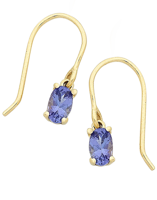 Tanzanite Earrings - Yellow Gold Tanzanite Drop Earrings - 768194