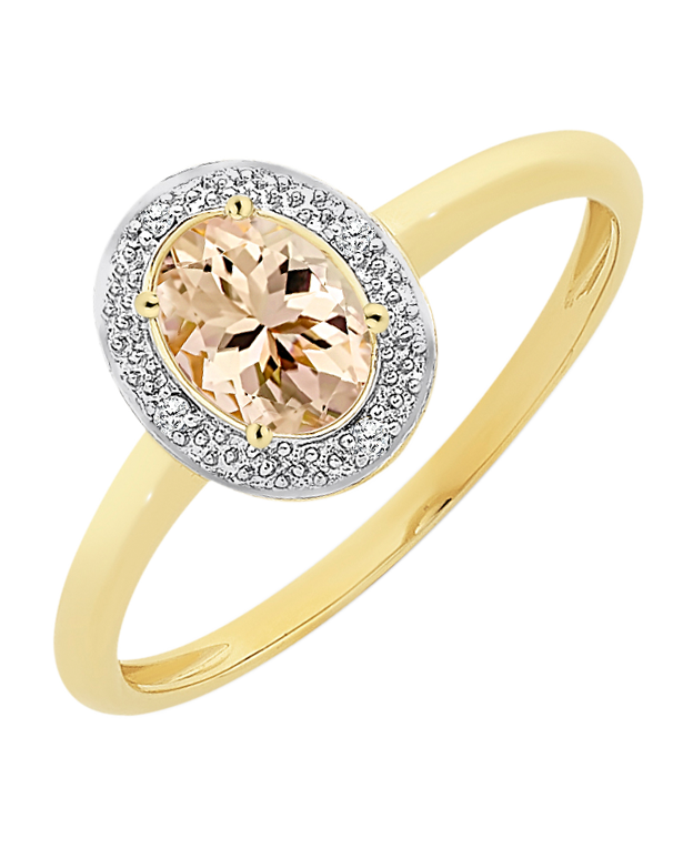 Morganite Ring - Yellow Gold Morganite and Diamond Ring - 768195 - Salera's