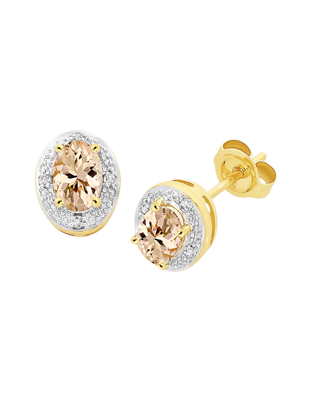 Morganite Earrings - Yellow Gold Morganite and Diamond Earrings - 768196 - Salera's