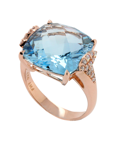 Esclusivo - Rose Gold Blue Topaz and Diamond Ring - 768269