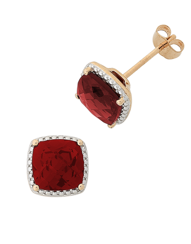 Garnet Earrings - 9ct Rose Gold Garnet Earrings - 768294