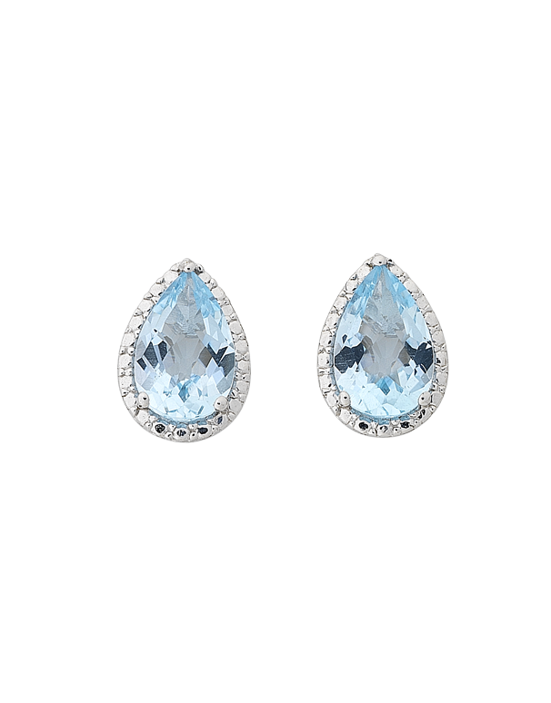 Blue Topaz Earrings - White Gold Blue Topaz Earrings - 768296