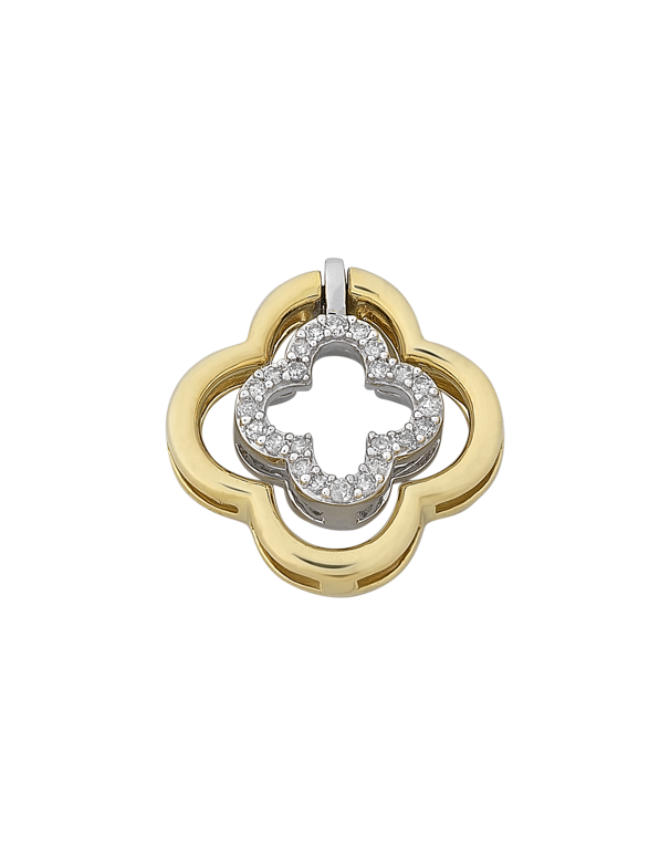 Diamond Pendant - Yellow and White Gold Diamond Flower Pendant - 768318