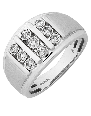 Men's Ring - White Gold Diamond Set Ring - 768320