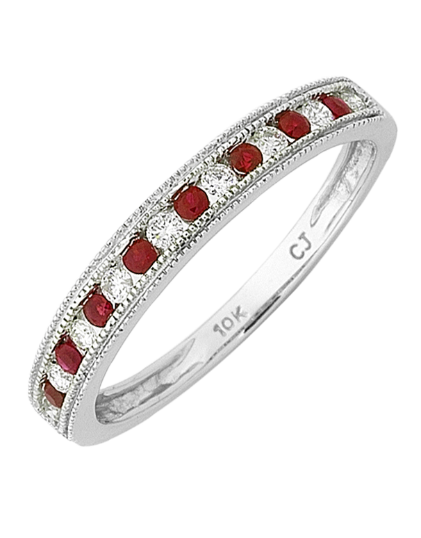 Ruby Ring - White Gold Ruby & Diamond Ring - 768322 - Salera's