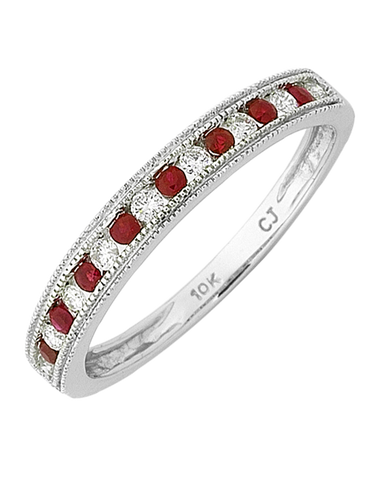 Ruby Ring - White Gold Ruby & Diamond Ring - 768322