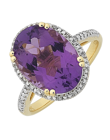Amethyst Ring - Yellow Gold Amethyst & Diamond Ring - 768391