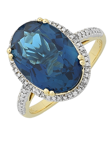 Blue Topaz Ring - Yellow Gold Blue Topaz & Diamond Ring - 768392