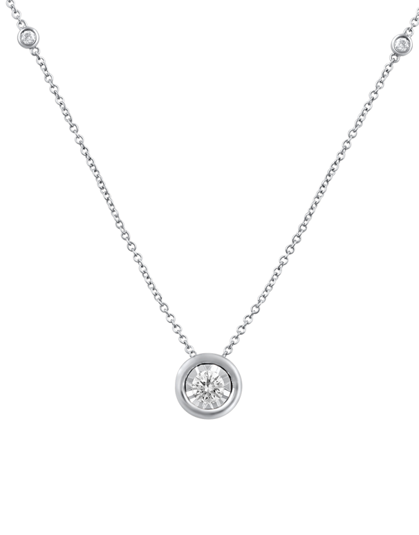Diamond Necklace - 10ct White Gold Diamond Necklace- 768488