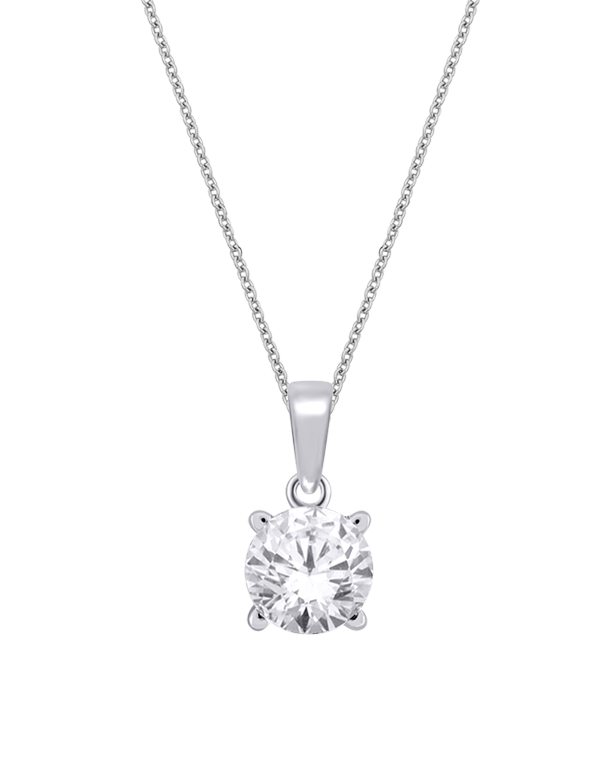 Diamond Pendant - 10ct White Gold Solitaire Pendant - 768585 - Salera's