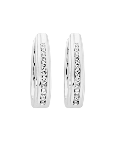 Diamond Earrings - Diamond Set White Gold Hoops - 768662