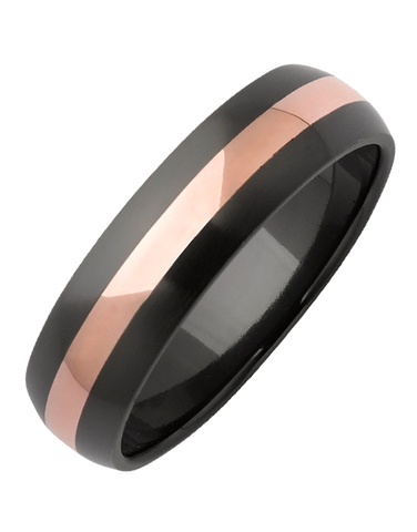 Ziro - Men's Zirconium and Rose Gold Ring - 768967