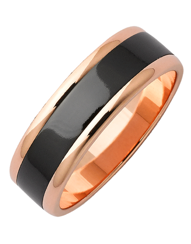 Ziro - Men's Zirconium and Rose Gold Ring - 768968