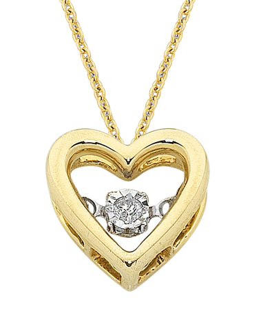 Diamond Pendant - 9ct Yellow Gold Dancing Diamond Heart Pendant - 769053