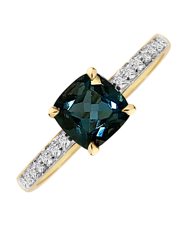 Blue Topaz Ring - Yellow Gold London Blue Topaz & Diamond Ring - 769054