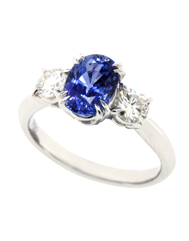 Esclusivo - 18ct White Gold Ceylon Sapphire & Diamond Ring - 769064
