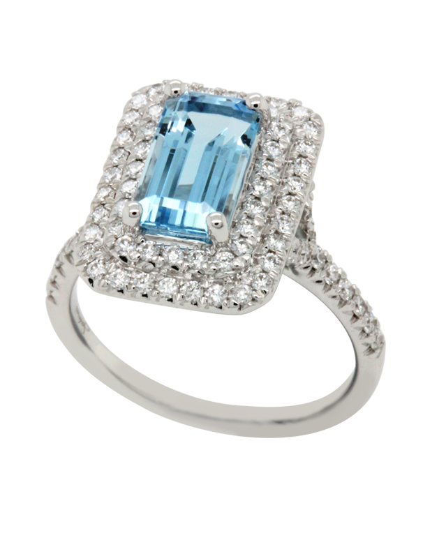 Esclusivo - 18ct White Gold Aquamarine and Diamond Ring - 769065