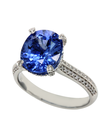 Esclusivo - 18ct White Gold Ceylon Sapphire & Diamond Ring - 769070