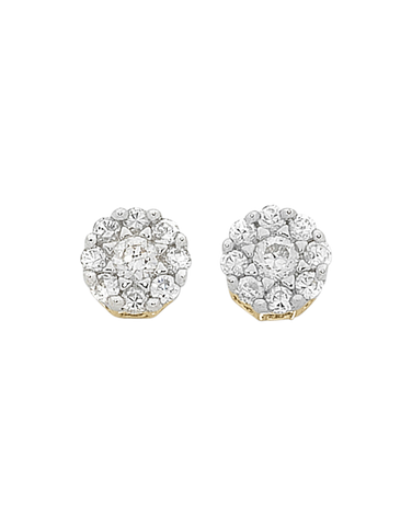 Diamond Earrings - Diamond Set Two Tone Gold Earrings - 769105