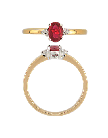 Ruby Ring - 9ct Yellow Gold Ruby & Diamond Ring - 769118