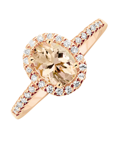 Morganite Ring - 9ct Rose Gold Morganite and Diamond Ring - 769122