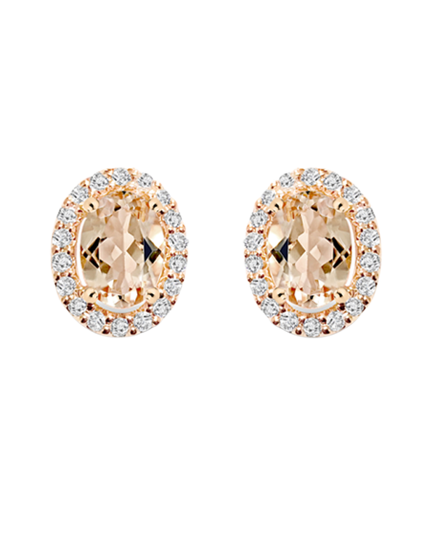 Morganite Earrings - 9ct Rose Gold Morganite and Diamond Earrings - 769123 - Salera's