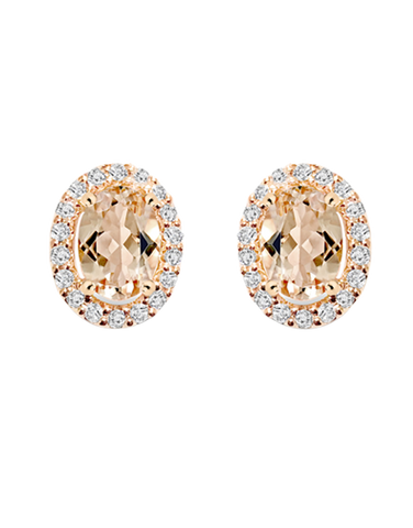 Morganite Earrings - 9ct Rose Gold Morganite and Diamond Earrings - 769123