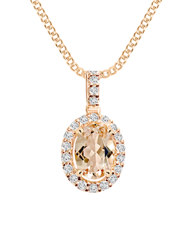 Morganite Pendant - 9ct Rose Gold Morganite and Diamond Pendant - 769124