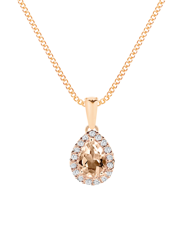 Morganite Pendant - 9ct Rose Gold Morganite and Diamond Pendant - 769127 - Salera's