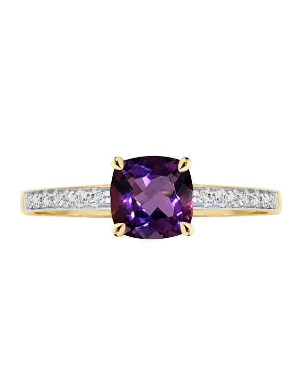 Amethyst Ring - 9ct Yellow Gold Amethyst and Diamond Ring - 769130 - Salera's