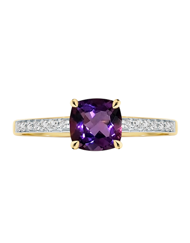 Amethyst Ring - 9ct Yellow Gold Amethyst and Diamond Ring - 769130