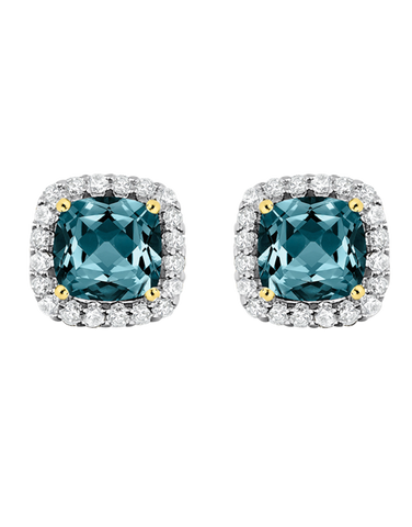 Blue Topaz Earrings - Yellow Gold London Blue Topaz & Diamond Earrings - 769132