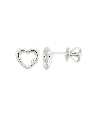 Diamond Earrings - White Gold Diamond Heart Earrings - 769134