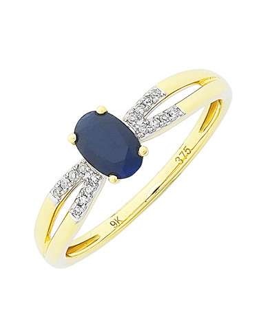 Sapphire Ring - 9ct Yellow Gold Sapphire and Diamond Ring - 769138